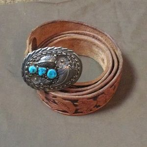 Native American Sterling silver w/turquoise buckle